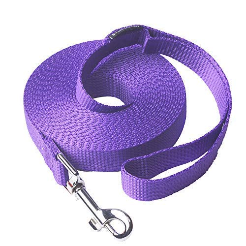 15 Foot Retractable Dog Leash - Siumouhoi Dog/Puppy Obedience Recall Training Agility Lead- 15 ft 20 ft 30 ft 40 ft 50 ft Dog Leash Long line -Training Leash, Extended Rope for Training. (15Feet, Purple)