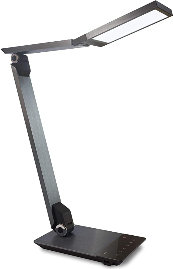 FeinTech LTL00601 Lampada da scrivania a LED con Funzione di Ricarica Wireless + USB Grigio Metallico