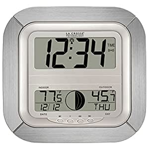 La Crosse Technology WS-8418AL-IT Atomic Digital Wall Clock with Moon Phase