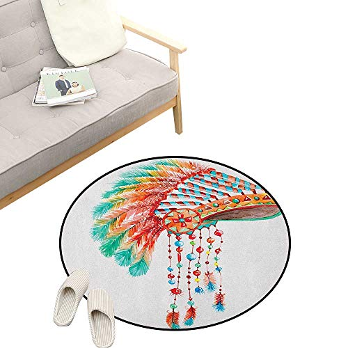 (American Kids Round Rug ,Watercolor Tribal Native Chief Headdress with Feathers Beads Arrow Figures Print, Sofa Living Room Bedroom Modern Home Decor 31