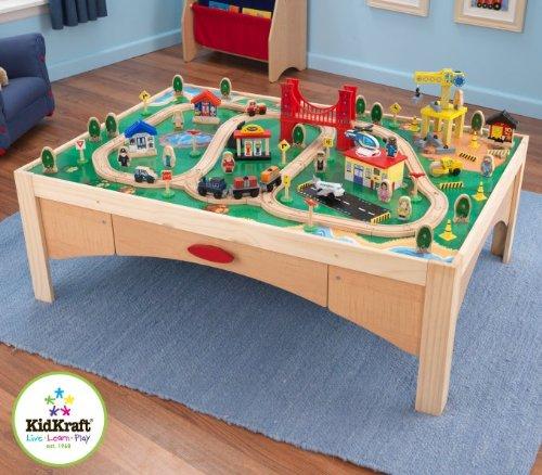 Amazon.com: KidKraft Natural Train Table and 120 Piece Train Set ...