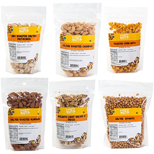 Premium Mixed Nuts Variety Sampler includes Salted Roasted Almonds, Salted Roasted Cashews, Dry Roasted Pistachios, Salted Soynuts, Walnuts Light Halves & Pieces, Toasted Corn Nuts (6 Count) (Pistachio Salad)