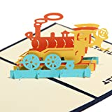Papercraft Pop-Up 3D Retro Train Greeting Cards