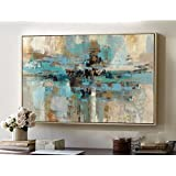 High quality hand-painted original abstract modern art contemporary painting blue-green wall art decorative texture large artwork