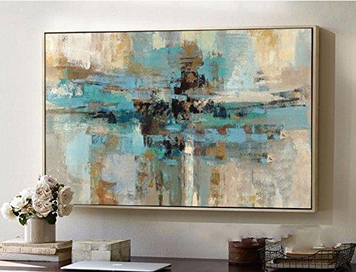 Orlco Art Hochwertiges, handgemaltes, abstraktes Gemälde, moderne Kunst, zeitgenössisch, blau-grün, Wandkunst, dekorative Textur, großes Kunstwerk, canvas, grün, 28x36inch(70x90cm)