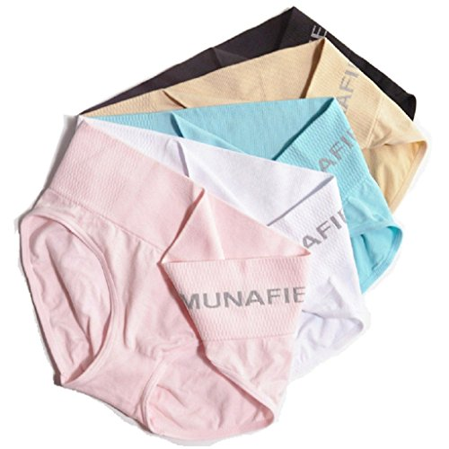 MUNAFIE 5-Pack Women's Sport Comfort Panty X-Temp Short Panties With Waistband Brief Panties US5-8 (5 Colors, One Size Fits For US 5-8)