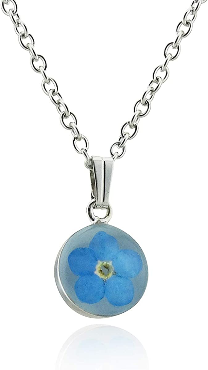 18 Stainless Chain Stainless Steel Flower Preserved in Resin FashionJunkie4Life Real Forget Me Not Flower Pendant Necklace