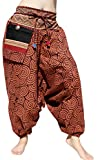 RaanPahMuang Mao Hill Tribe Harem Pants Patch Printed Summer Cotton Hanging Pocket, X-Large, Whorl Brown
