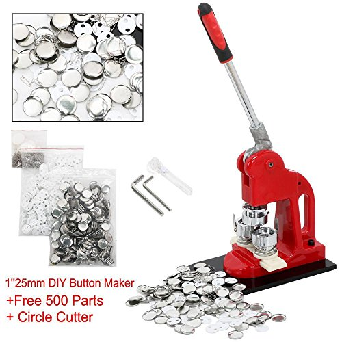 Yaheetech 1Inch 25mm Button Badge Maker Machine with Extra 500Pcs Button Parts Circle Cutter School DIY