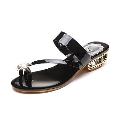 weiwei Lady High Heel Sandalen im Sommer,Dick und Nackten Zehen Sandale-A Fußlänge=22.8CM(9Inch)