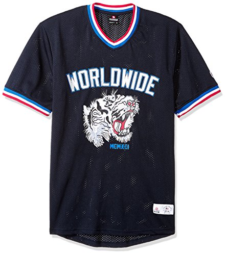 Southpole Men's Short Sleeve Athletic Mesh Jersey T-Shirts, Navy Tiger Large - Mesh T-shirt Jersey