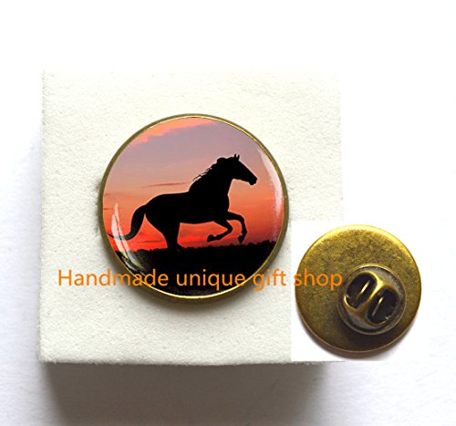 Dome Set Brooch (Fashion Brooch, Charm Brooch, Dainty Brooch,Horse Brooch, running horse Pin, sunset Pin, Horse jewelry,glass dome Pin-RC380)