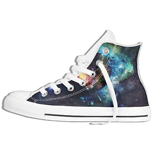 Classic High Top Sneakers Canvas Shoes Anti-Skid Eye Shaped Nebula Casual Walking For Men Women White ktcD9WQ2l