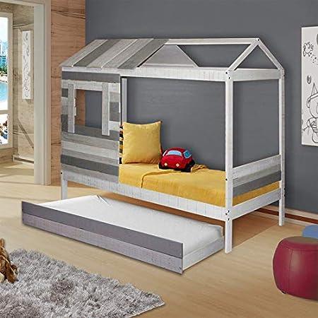 Pack Lit cabane Avec tiroir et matelas Charles Dim:90x190 cm ...