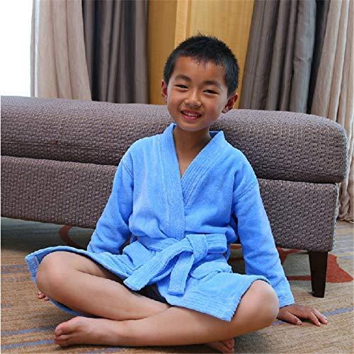 FERFERFERWON Nachthemd Bademantel aus Baumwollsamt für Kinder Baumwollsamt (Farbe  Blau, Größe  L)