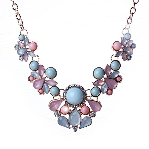 Hot Sale Gifts!Women Luxury Necklace Daoroka Teardrop-Shaped Rhinestone Colorful Bib Statement Necklace Jewelry For Mom Girlfriend (44cm, (Bead Magnetic Clasp Cable)