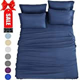 How Long Is a King Size Bed Bed Sheets Set Twin Xl Sheets Microfiber Super Soft 1800 Thread Count Luxury Egyptian Sheets 16-Inch Deep Pocket Wrinkle Fade and Hypoallergenic - 4 Piece (Navy Blue) - Sonoro Kate