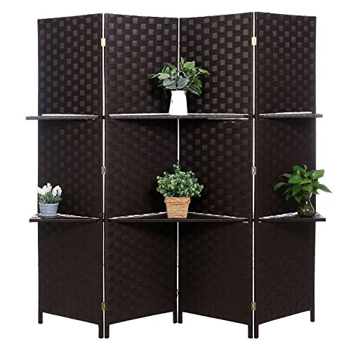Decorative Hand Woven Bamboo 4-Panel Room Divider with 2 Tier Removable Display Shelves, (Black Room Divider)