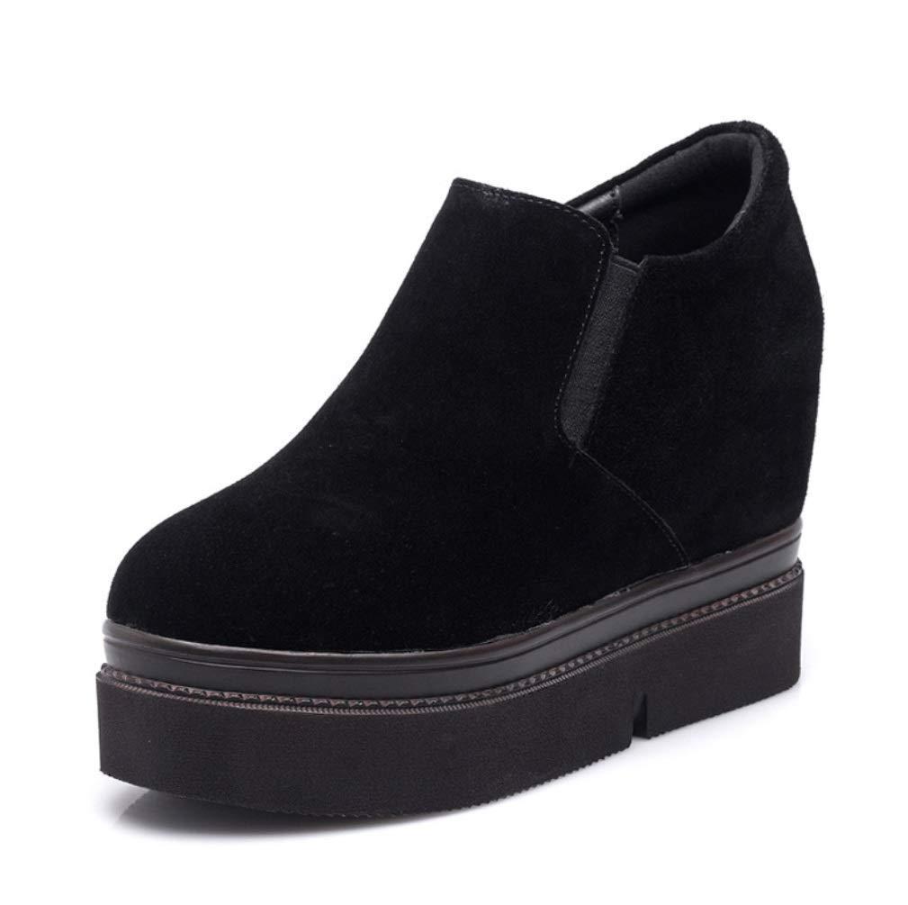FORTR Home Damenschuh Keilabsatz Schuhe Damen Nubucks Schuhe Schuhe Schuhe Müßiggänger Damenmode Freizeitschuhe Unsichtbare Erhöhung 10cmdamen Schuhe (Farbe   schwarz Größe   39) dfe184