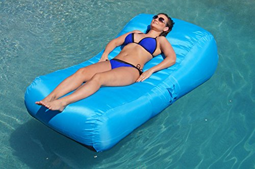 Aquadolce Pool Lounger - Deluxe Oversized Pool Float with Durable TURQUOISE Nylon, Luxury Living Inflatable Chaise ()