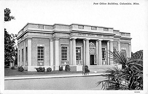 Post Bldg (Columbia Mississippi Post Office Bldg Street View Antique Postcard K72852)