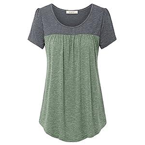 Lingfon Women's Short Sleeve Pleated Front Stitching Tunic Shirt Top