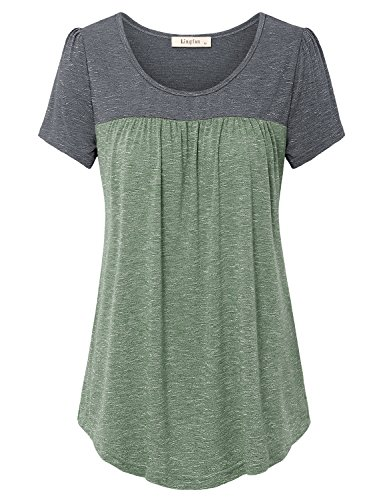 Lingfon Women's Short Sleeve Pleated Front Stitching Tunic Shirt Top(L,Green)