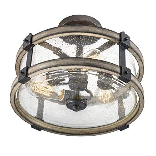 Barrington Anvil Iron and Driftwood Clear Glass Semi-Flush Mount Rustic Light ()