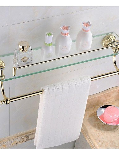 LINA@ Antique Ti-PVD Finish Brass Material Glass Shelf , golden