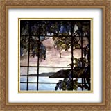 View of Oyster Bay 2x Matted 28x28 Large Gold Ornate Framed Art Print by Tiffany, Louis Comfort