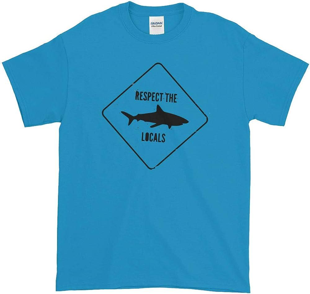 Beach Shark T-Shirt Respect The Locals Swimming Fish