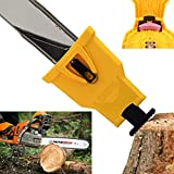 "Chainsaw Teeth Sharpener Portable Bar-Mount Electric Chainsaw Chain Sharpening Kit Fast-Sharpening Stone Grinder Tools Fit for 14"" 16"" 18"" 20"" Two Hole Chain Saw Bar"