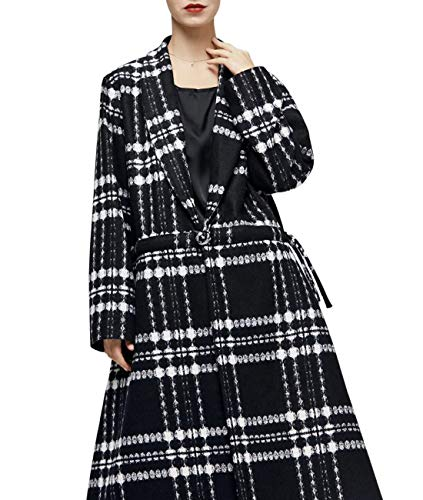 ion Long Maxi Checked Wool Blend Coat Shawl Collar Open Front Drawstring with 1 Chinese Frog Long Sleeve/Pockets ()
