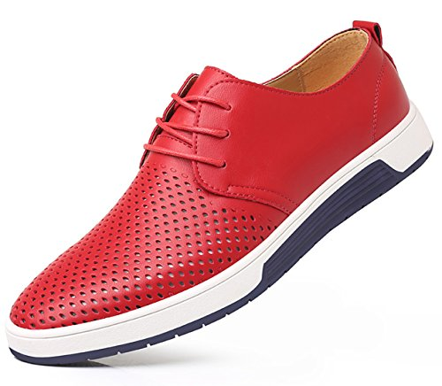 SANTIMON Shoes Casual Fashion Men Breathable Leather Flat Sneakers Sandals Red 11 D(M) US