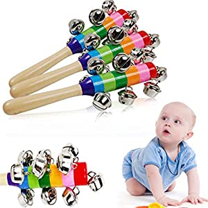Eleusine Children Colorful Rattles Pram Crib Handle Wooden Bell Stick Shaker Rattle Toy Music Developmental Toys