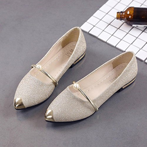 t Shoes, Women Comfortable Slippers Dress Sandals Shoes Pointed Toe Oxford Shoes (US:5.5, Gold) ()