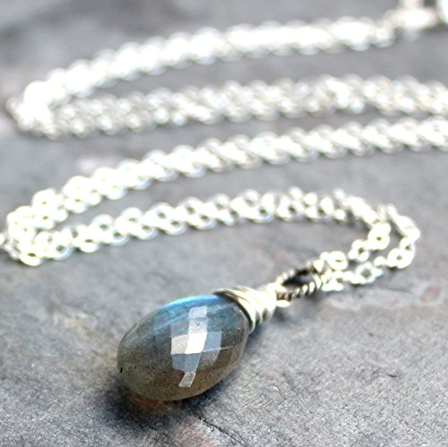Labradorite Necklace Pendant Sterling Silver Blue Gray Gemstone Faceted (Blue Labradorite Pendant)