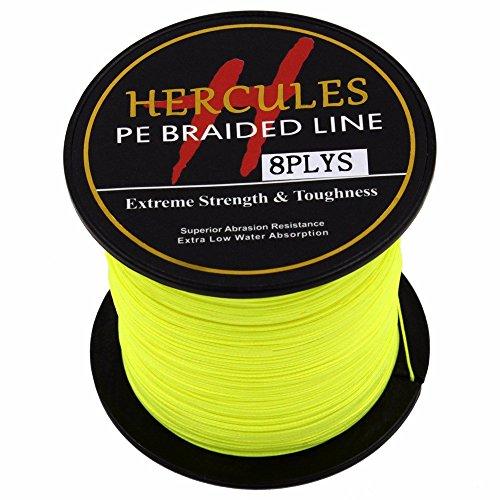HERCULES 100m 109yds Fluorescent Yellow 10lbs-300lbs Pe Braided Fishing Line 8 Strands (60lb/27.2kg 0.40mm)