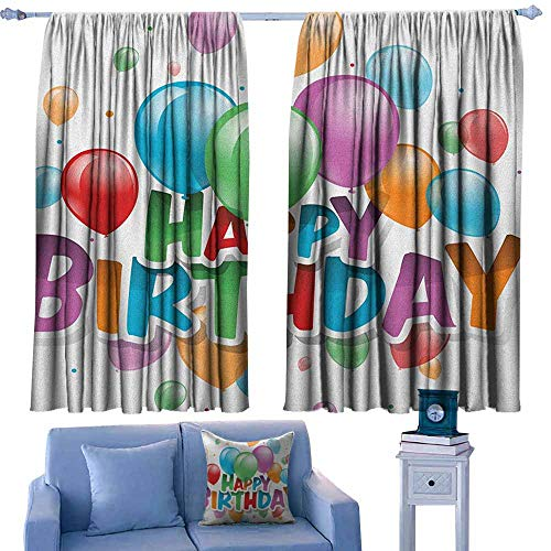 GAAGS Decor Curtains,Birthday Balloons Burst Fun Graphic Design Festival Cheerful Mood Greeting Celebration,for Patio/Front Porch,W55x63L Inches Multicolor ()