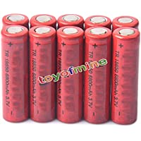 10x 3.7V 18650 Li-ion 6800mAh Flat Top Torch LED Rechargeable Battery