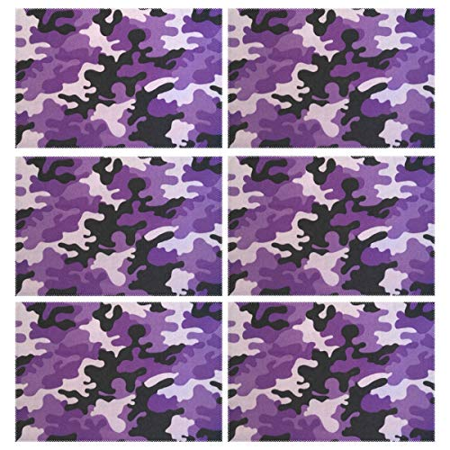 Heat Resistant Placemats for Kitchen Table Mats Dining Room,Purple Camo Washable Insulation Non Slip Placemat 12x18 inch(6 pcs)