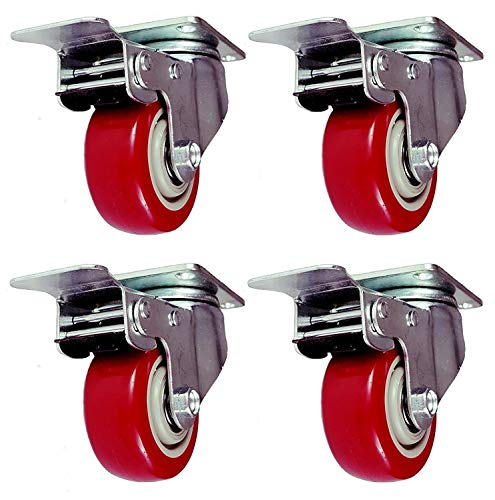 Online Best Service 4 Pack Caster Wheels Swivel Plate with Brake On Red Polyurethane Wheels (3 inch with brake) (Locking Wheel)