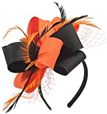 Fascinators for Women Tea Party Satin Feather Mesh Wedding Headband Kentucky Derby Headpieces(Thanksgiving)(Black&Orange)