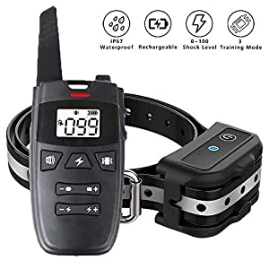 SKHTO Dog Training Collar, Dog Shock Collar w/3 Training Modes, Beep, Vibration and Shock, New Upgraded Smart Chip, 0~100 Shock Levels Training Set