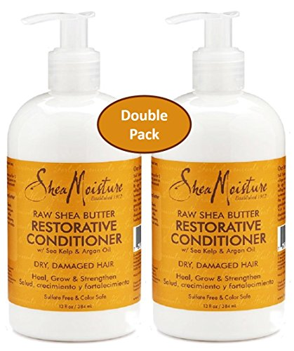 Shea Moisture Raw Shea Butter Restorative Conditioner w/ Sea kelp & argan Oil - Dry, Damaged Hair - Sulfate Free & Color Safe - Value Double Pack - Qty of 2 Each