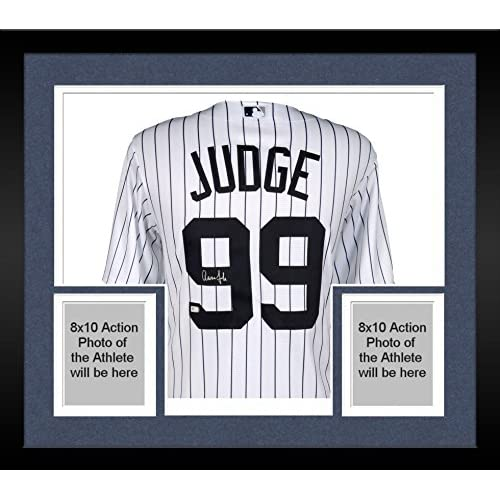 81ba914a9 Framed Aaron Judge New York Yankees Autographed Majestic White Replica  Jersey - With Nameplate on Back