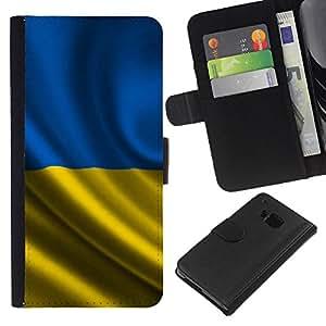 EJOY---La carpeta del tirón la caja de cuero de alta calidad de la PU Caso protector / HTC One M9 / --Bandera de Ucrania