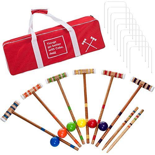 Officially Licensed Coca Cola Coke Croquet Set with Deluxe Carrying Case - Up to 6 Players! by TMG