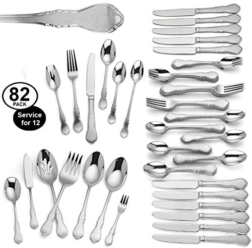 Lenox Wescott 82 Piece Flatware Set Service For 12 Stainless Steel 18/10