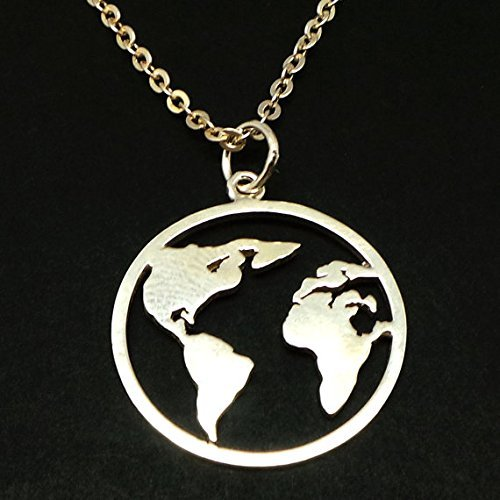 Handmade silver world map earth pendant necklace amazon handmade handmade silver world map earth pendant necklace freerunsca Gallery
